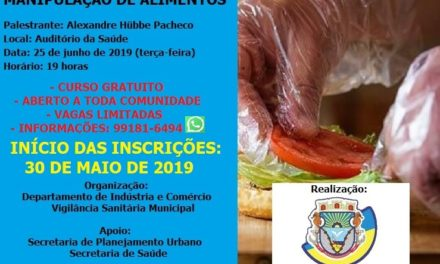 Curso Básico de Higiene na Manipulação de Alimentos será oferecido à comunidade