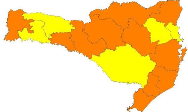 SC tem 11 regiões com risco grave e cinco com risco alto