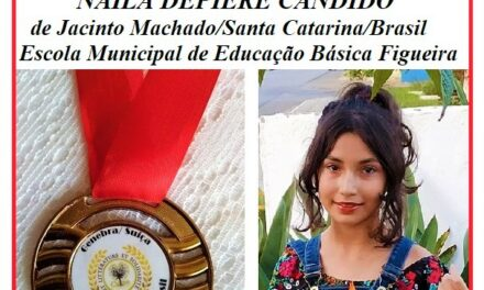 Estudante de Jacinto Machado se destaca em concurso literário