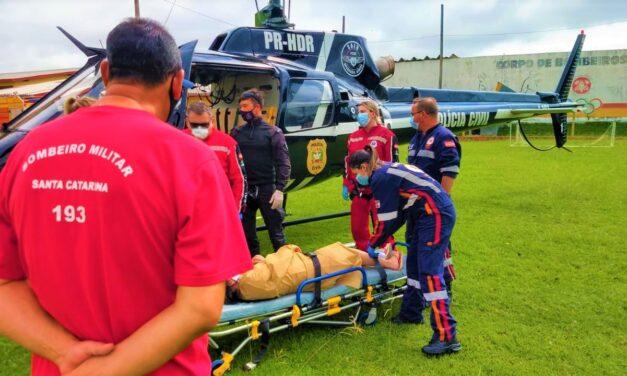 Gestante é transferida de helicóptero de Araranguá para Lages