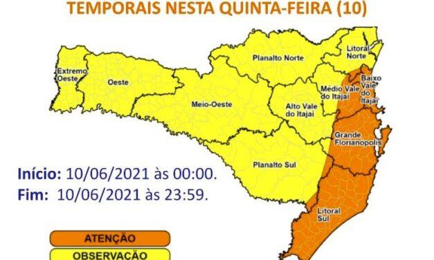 Defesa Civil divulga novo alerta de chuva e tormentas para esta quinta-feira no Sul de SC